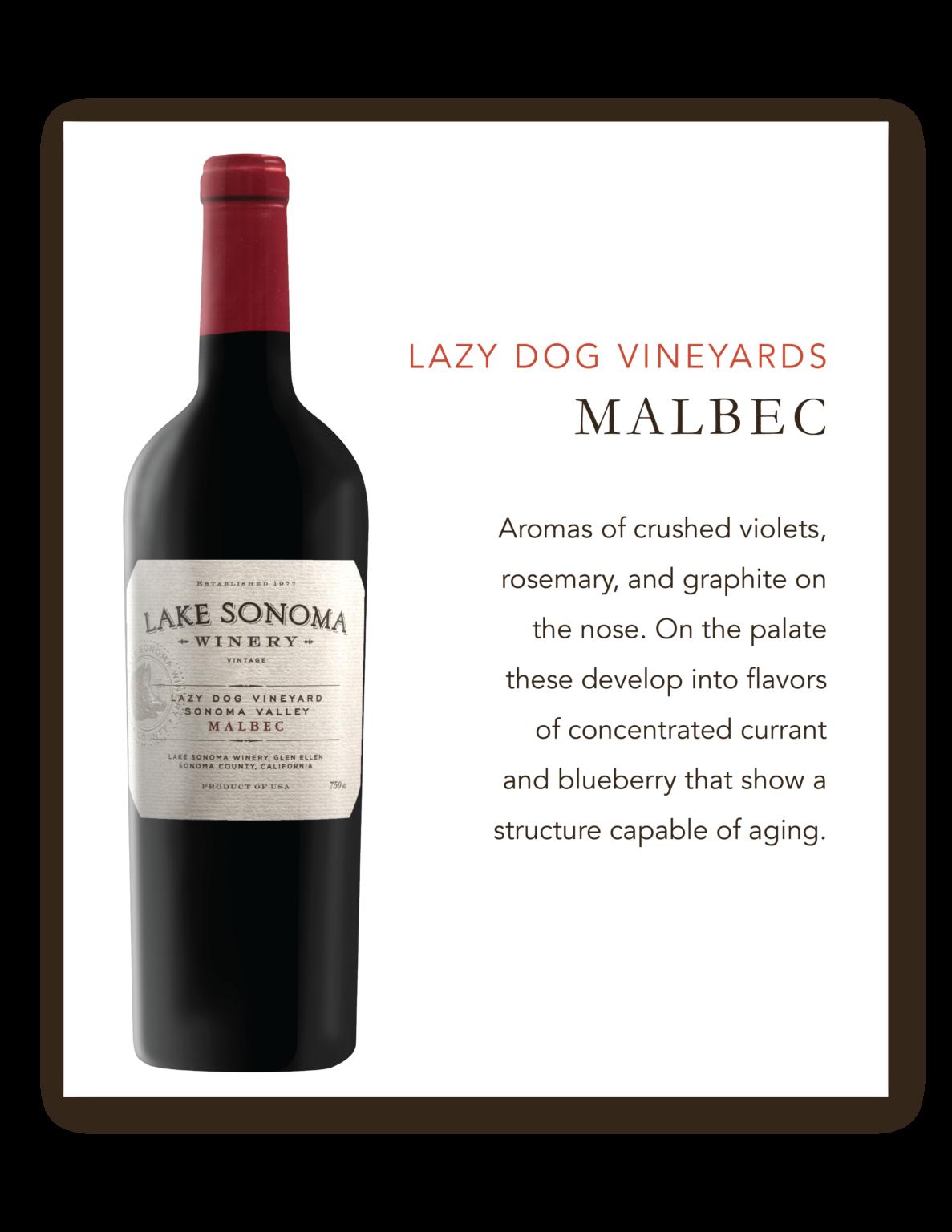Lake Sonoma Lazy Dog Vineyard Malbec