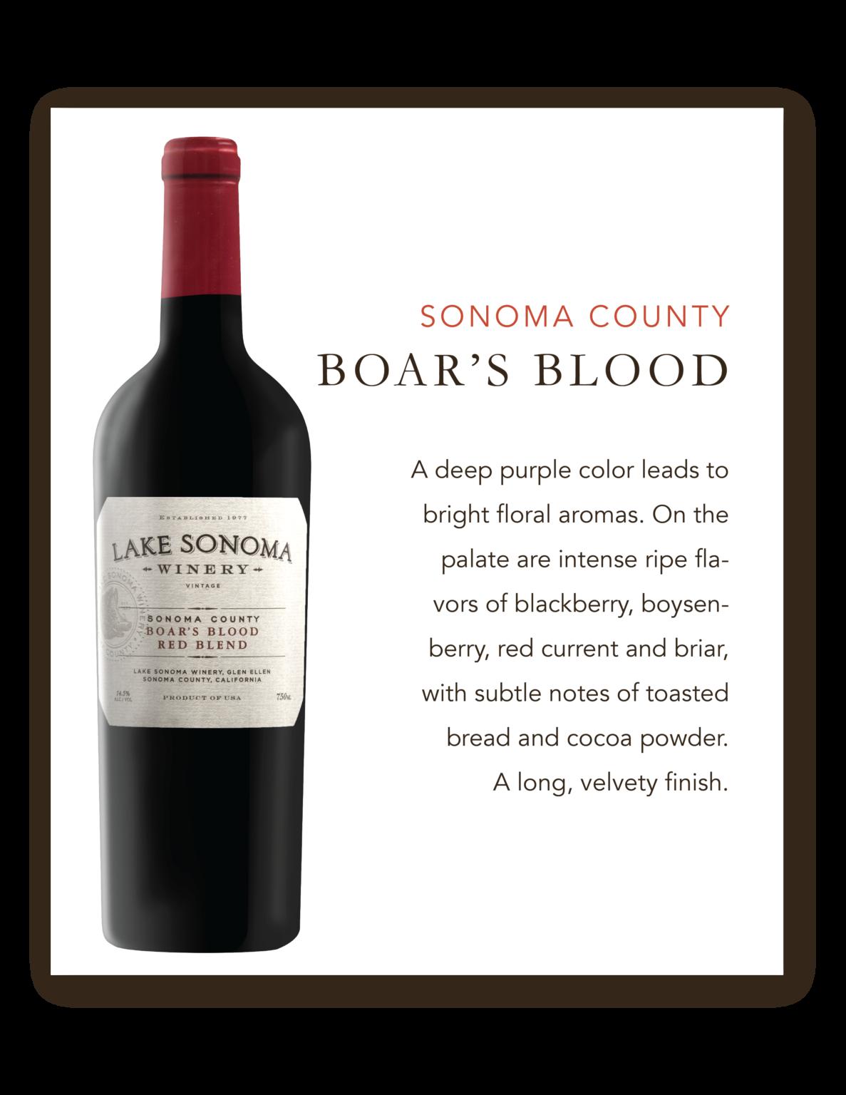 Lake Sonoma Boar's Blood Sonoma County